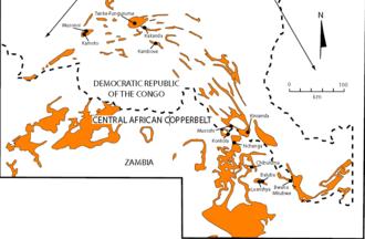 Katanga Supergroup - Central African Copper Belt geologic map of Katanga Supergroup and mine locations