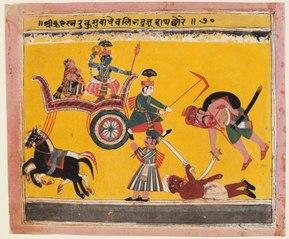 A page from a Bhagavata Purana: After Krishna bound Rukma (Rukmini's brother) Balarama freed his hands