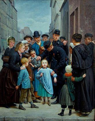 1877 in art - Charles-Gustave Housez La petite fille perdue dans Paris, 1877