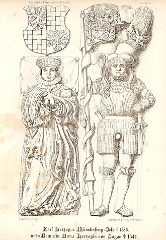 Duchy of Münsterberg - Charles of Münsterberg-Oels and his wife Anna of Sagan