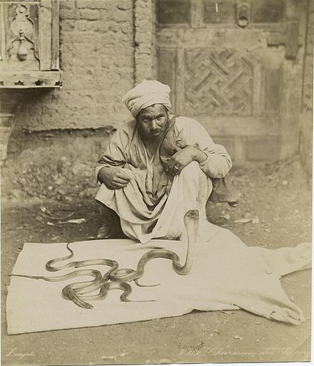 A serpent charmer in Egypt, 1860s Charmeur des serpents 1860s.jpg