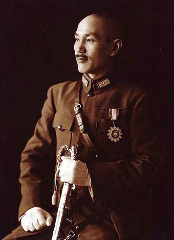 Generalissimo Chiang Kai-shek, leader of the Chinese nationalist Kuomintang Chiang Kai-shek in full uniform.jpeg