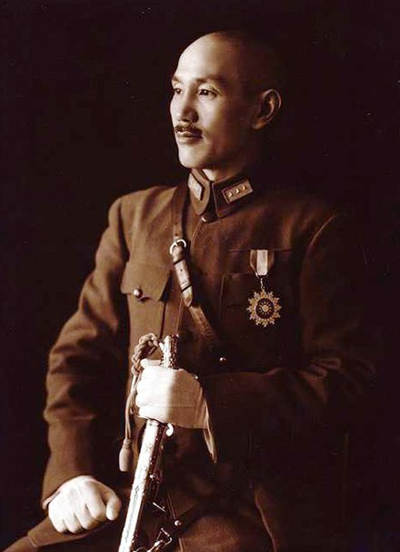 Generalissimo Chiang Kai-shek, Allied Commander-in-Chief in the China theatre from 1942 to 1945 Chiang Kai-shek in full uniform.jpeg