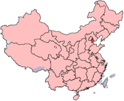 Tianjin er vist på kortet