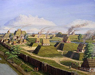 Platform mound - The Kincaid Site in Massac Co., Illinois, showing platform mounds. Illustration by artist Herb Roe