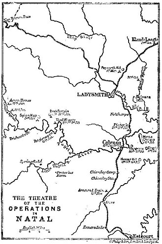 Relief of Ladysmith - Map showing the battles in the Relief of Ladysmith