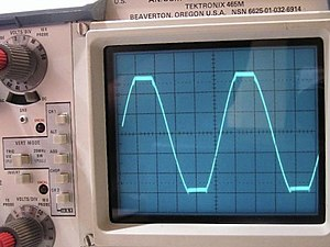 "Clipping (audio) - The altered peaks and troughs of the sinusoidal waveform displayed on this oscilloscope indicate the signal has been ""clipped."""