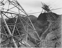 Close-Up Photograph of Boulder Dam Transmission Lines on Side of Cliff, 1941 - NARA - 519845.tif