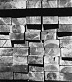 Close-up of stacks of lumber, Lake Whatcom Logging Company, ca 1898-1901 (INDOCC 851).jpg