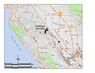 Coalinga Oil Field - The Coalinga Oil Field in Central California. Other oil fields are shown in gray.