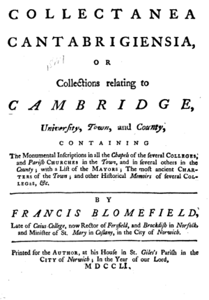 Francis Blomefield - Title page, Collectanea Cantabrigiensia, or Collections Relating to Cambridge, by Francis Blomefield, published at Norwich, 1751