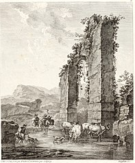 Landscape with Shepherds and Cattle near a Ruin