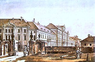 Aleksander Zelwerowicz National Academy of Dramatic Art in Warsaw - A historical painting depicting Collegium Nobilium (now the seat of the National Academy of Dramatic Art) by Zygmunt Vogel