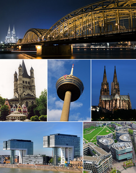 From top left to bottom: Hohenzollern Bridge by night, Great St. Martin Church, Colonius TV-tower, Cologne Cathedral, Kranhaus buildings in Rheinauhafen, MediaPark, people celebrating Cologne Carnival, and Kölnarena.