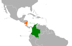 Map indicating locations of Colombia and Nicaragua