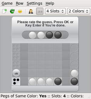 Mastermind (board game) - Screenshot of software implementation (ColorCode) illustrating the example.