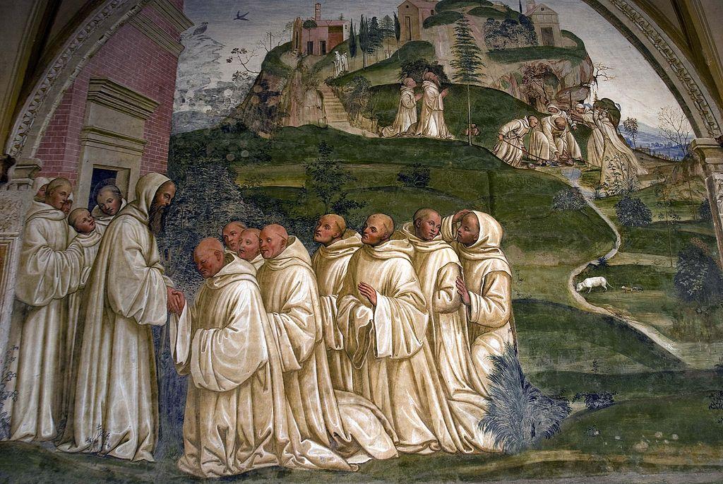 Come benedetto pregato dai monaci produce l'acqua dalla cima di un monte.jpg