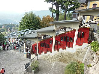 Como–Brunate funicular - One of the latest funicular cars at the upper station