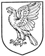 Fig. 447.—Eagle rising, wings elevated and addorsed.