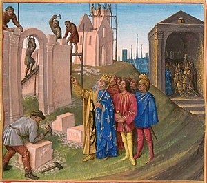 Palace of Aachen - The construction of Aachen, illumination by Jean Fouquet, in the Grandes Chroniques de France, 15th century. Charlemagne is at the foreground.