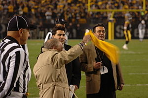 Myron Cope - Cope waves a Terrible Towel at Heinz Field – October 31, 2005