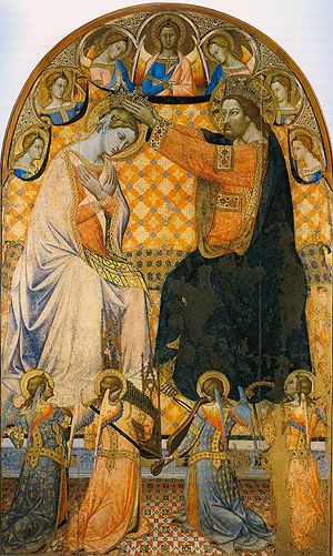 Jacopo di Mino del Pellicciaio - Coronation of the Virgin of 1340-1350, typical of the smaller Gothic depictions of the subject