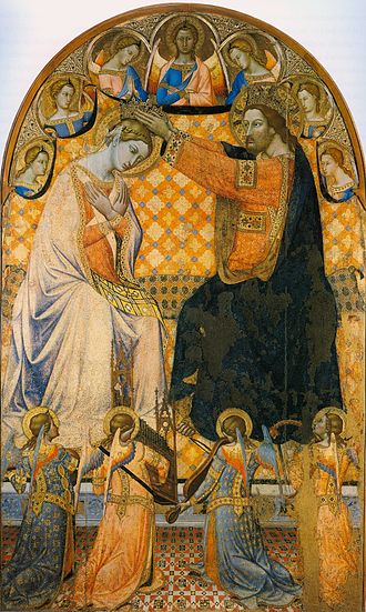 Coronation of the Virgin - Sanctae Mariae Coronavi by Giacomo di Mino's Gothic version. Circa 1340-1350