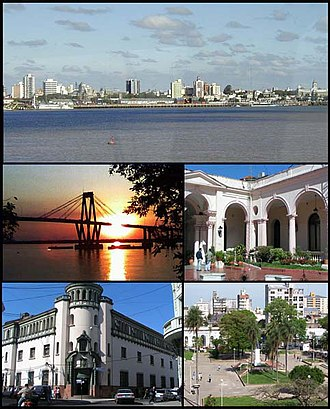 Corrientes - (From top to bottom; from left to right) Skyline on Paraná River; General Belgrano Bridge; Government House courtyard; San Martin Palace and Cabral Square.