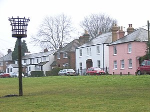 English: Cottages next to Downley Common.