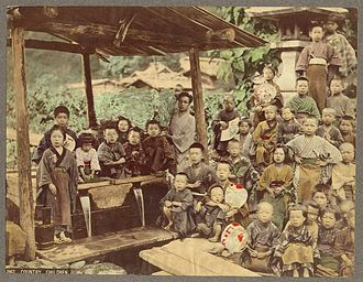 Photography in Japan - Country Children. Hand-coloured albumen silver print, by Kusakabe Kimbei