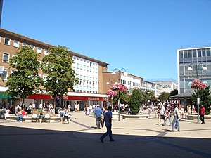 Crawley - Queen's Square in the central shopping area, looking towards the bandstand, The Body Shop, Marks & Spencer and the former Woolworths store