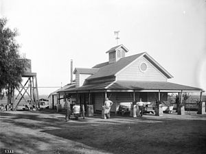 Henry Hammel and Andrew H. Denker - Creamery on Hammel and Denker ranch, Beverly Hills, ca.1905