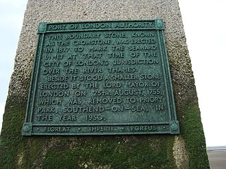 London Stone (riparian) - Plaque on the Crow Stone, Chalkwell