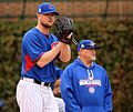 Cubs lefty Jon Lester throws a bullpen session at Wrigley Field. (29989431774).jpg