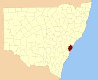 County of Cumberland, New South Wales - Location in New South Wales