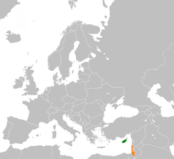 Map indicating locations of Cyprus  and Israel