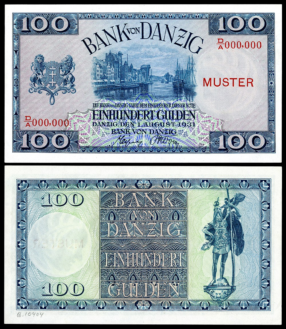 The Danzig coat of arms depicted on a 100 gulden note (1931)