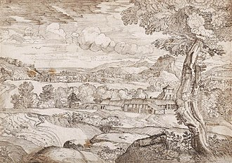 Domenico Campagnola - Landscape drawing by Campagnola; these were his most influential works