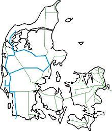 Kort over danmark, med arrivastrækninger markeret
