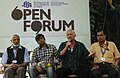 Dan Wolma, Shri Laxmikant and Shri A.K. Bir at an open forum on the topic of Success of Film Festival Quality of Films, during the 42nd International Film Festival of India (IFFI-2011), in Panaji, Goa on December 01, 2011.jpg