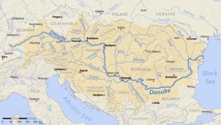 Danube Wikiwand - Danube river location on world map