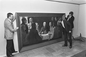 Han van Meegeren - Painting The Last Supper I by Han van Meegeren on 11th art and antiques fair in Rotterdam August 31, 1984. - In the summer of 1938, van Meegeren moved to Nice. 1939 he painted The Last Supper I in the style of Vermeer.