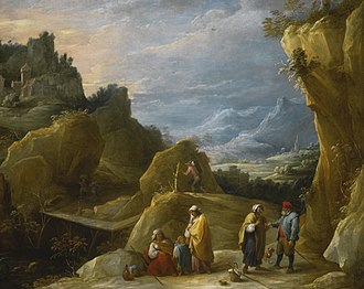 David Teniers the Younger - Mountain landscape with a gypsy fortune teller, after 1644, oil on canvas