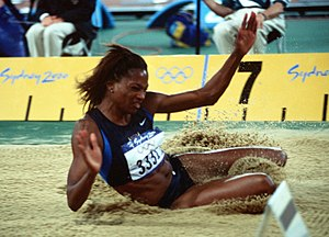 Long jump at the Olympics - Image: Dawn Burrell at the 2000 Olympic games in Sydney