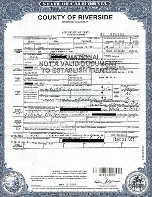 Simon Oakland - Death certificate of Simon Oakland