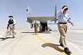 Defense.gov News Photo 110605-D-XH843-030 - Secretary of Defense Robert M. Gates exits a V-22 Osprey at a Forward Operating Base in Afghanistan on June 5, 2011.jpg