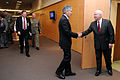 Defense.gov News Photo 110608-D-XH843-002 - Secretary of Defense Robert M. Gates meets with the Australian Defense Minister Stephen Smith at the NATO headquarters in Brussels Belgium on.jpg