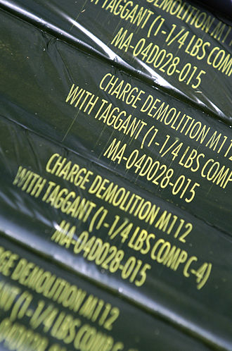 C-4 (explosive) - Wrapping on packaged C-4 indicate that it has been tagged for easier detection. Even if no taggant is used, sophisticated forensic means can still be employed to identify the presence of C-4.