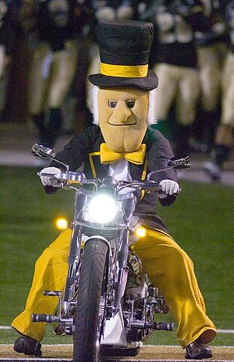 Demon Deacon - The Demon Deacon riding on to the field with his motorcycle has become a tradition during many Wake Forest home games for not only football, but basketball and soccer as well.