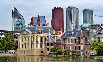 The Mauritshuis seen next to the Torentje Den Haag Binnenhof Mauritshuis & Skyline 1.jpg